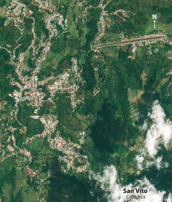 San Vito area in a satellite photo, with the center of town in the middle left of the photo. For a closer, annotated version of San Vito by satellite, click here.