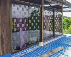 Thick ABC Translucent Tape on large windows. Photo by Roni Chernin.