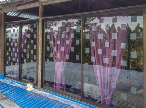Thick ABC Translucent Window Tape to prevent bird strikes. Photo by Roni Chernin.
