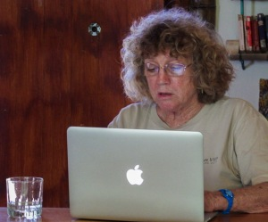 Secretary Lydia Vogt, hard at work, photo by Alison Olivieri.